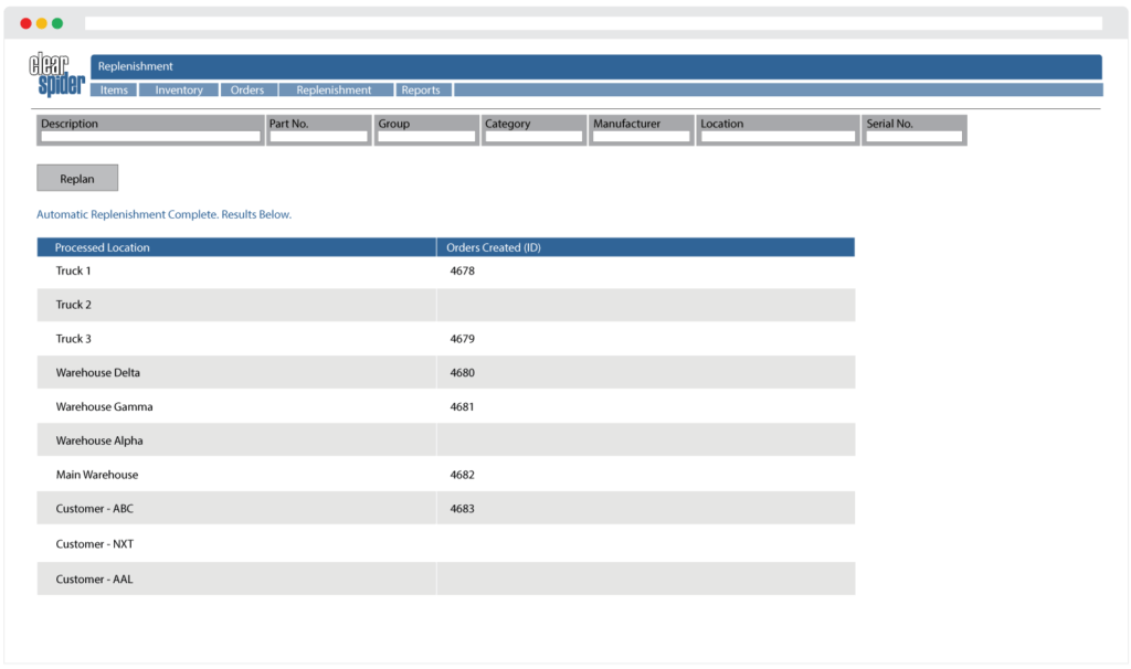 Screenshot of the Clear Spider automatic replenishment feature generating inventory orders