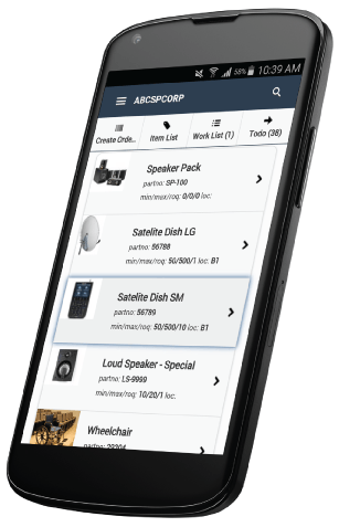 Screenshot of the Items List on the Clear Spider mobile app